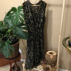 Merona sheer black floral midi dress